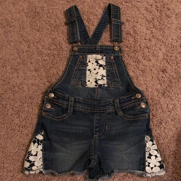 18bc08d31 Jordache Bottoms | Girls Denim Short Overalls With Lace Insets ...